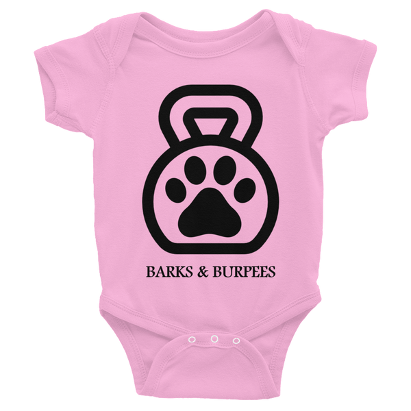 Barks and Burpees Kettlebell Dog Paw Infant Onesie