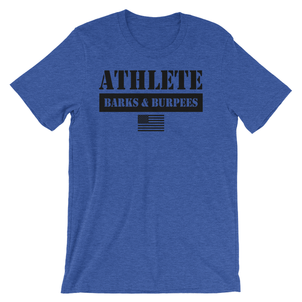 ATHLETE TEE - BLACK ON BLUE
