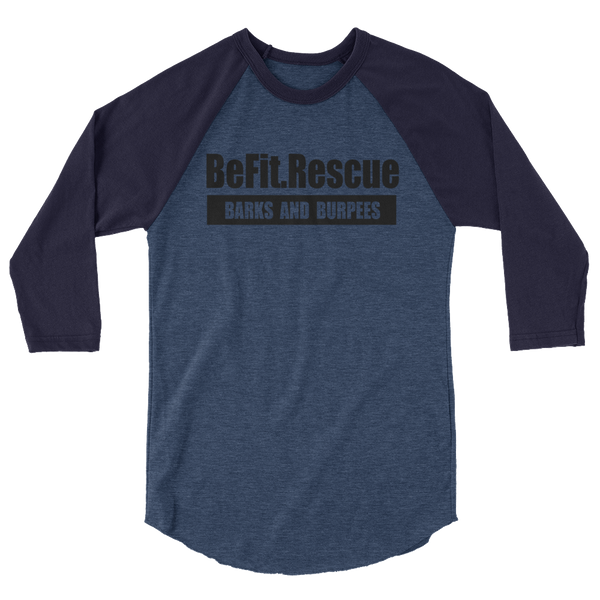 BE FIT. RESCUE HEATHER DENIM/NAVY BASEBALL TEE (UNISEX)