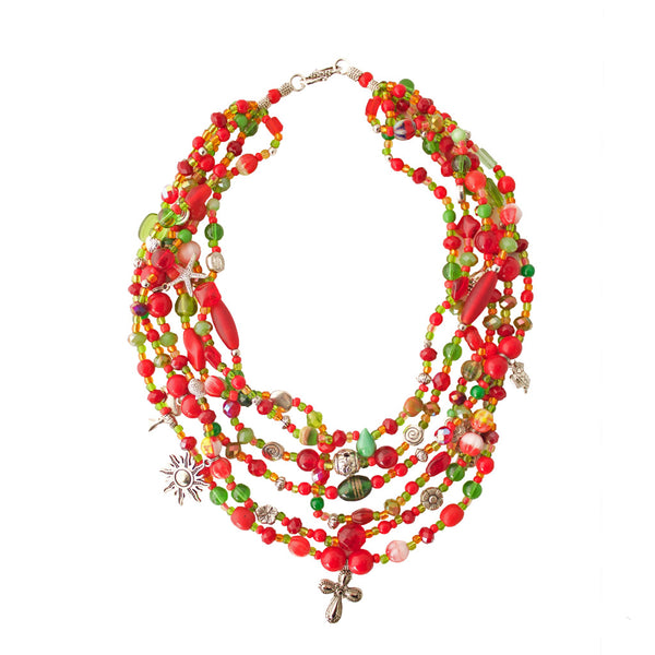 Contemporary Red Hualcas Necklace