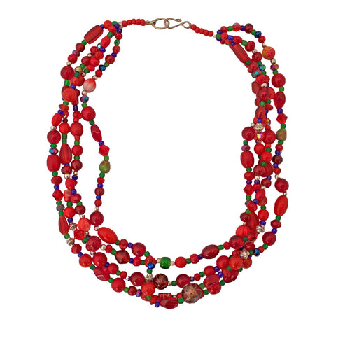 Red Andean Hualcas Necklace