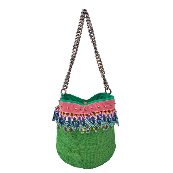 Lida  Parrot Green Shigra Bag