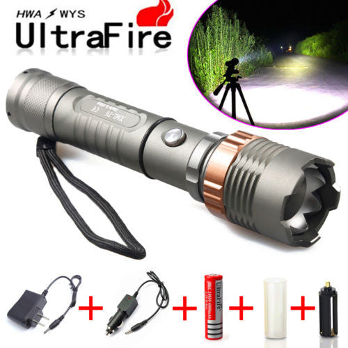 Tactical Police SWAT Heavy Duty 3W LED Rechargeable Flashlight 8000LM+18650+Case