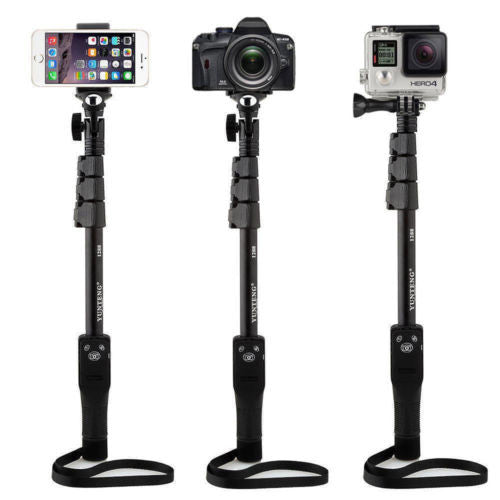 Extended Wireless Bluetooth Selfie Stick Pole for Go Pro Hero 3+4 iPhone 6S Plus