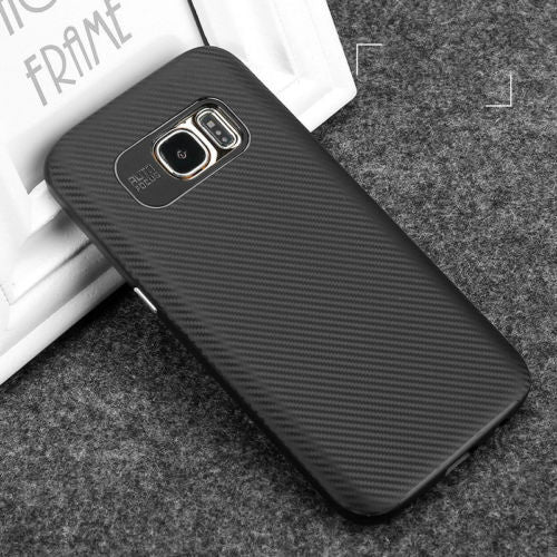 For Samsung Galaxy S6 S7 edge plus Case TPU+ PC Frame Carbon Fiber Back Cover