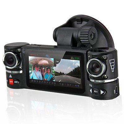 Dash Cam 2.7'' TFT LCD Dual Camera Rotated Lens Car DVR w/ IR Night Vision