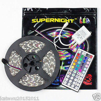 SUPERNIGHT® 5M 5050 RGB 300 LEDs Waterproof Flexible Strip  + 44 Key IR Remote