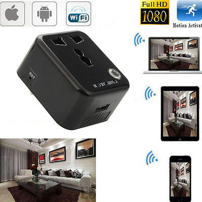Wifi 1080P HD SPY Hidden Socket IP Camera VideoRecorder DVR Motion Detection Cam