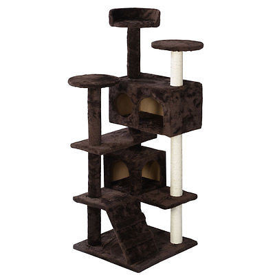 Cat Tree Tower Condo Furniture Scratch Post Kitty Pet House Play Brown