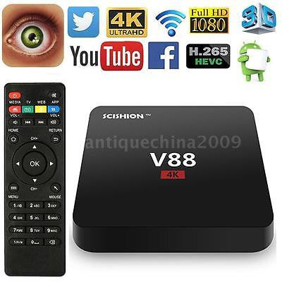 V88 4K Android 6.0 Smart TV BOX Latest16.1 RK3229 Quad Core 8GB HD 1080P WIFI