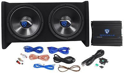 Rockville RV12.2A 1200w Dual 12'' Car Subwoofer Enclosure+Mono Amplifier+Amp Kit