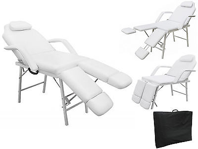 75'' Portable Tattoo Parlor Spa Salon Facial Bed Beauty Massage Table Chair White