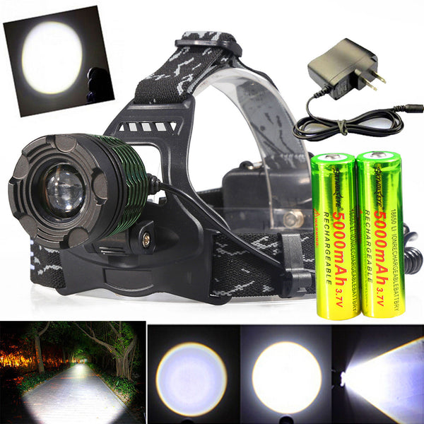 CREE 10000LM Tactical XM-L T6 LED Headlamp Zoomable HeadLight + 18650 + Charger