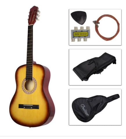 Beginners Acoustic Guitar W/Guitar Case Strap Tuner Pick