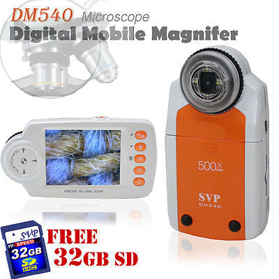 SVP DM540 Digital Mobile Magnifier MicroScope 500x ZOOM w/ 32GB SD Card Bundled