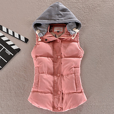 Women's Solid / Patchwork Blue / Pink / Black Down Coat,Simple Hooded Sleeveless