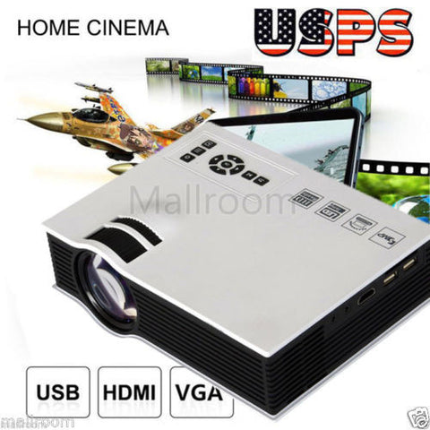 HD 1080P Mini Projector Multimedia LED LCD Home Theater Cinema USB SD AV HDMI US
