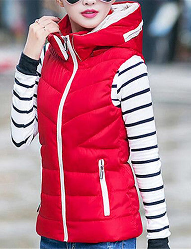 Women's Color Block Blue / Red / Beige / Black Padded Coat,Simple / Cute Hooded Sleeveless