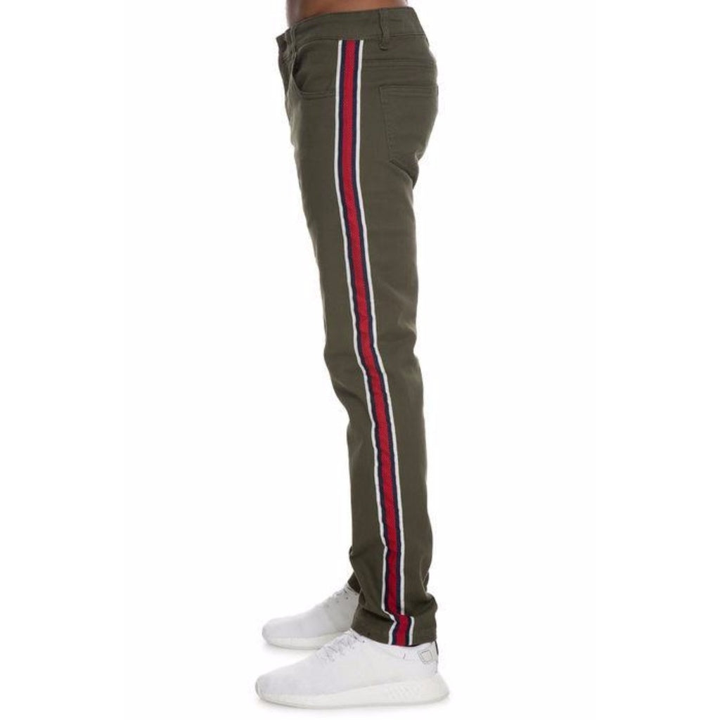 S&D x Nerdy Fresh Taped Denim Jeans in Olive w/ Red, Blue, White Stripes