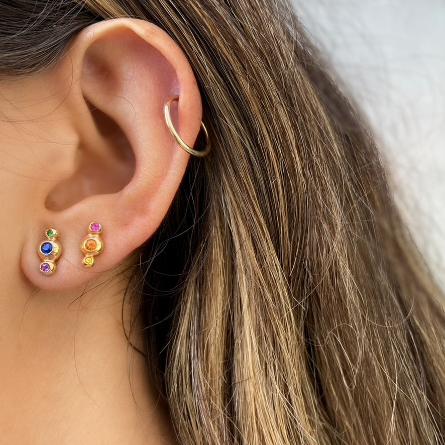 Rainbow Studs, 14K Yellow Gold
