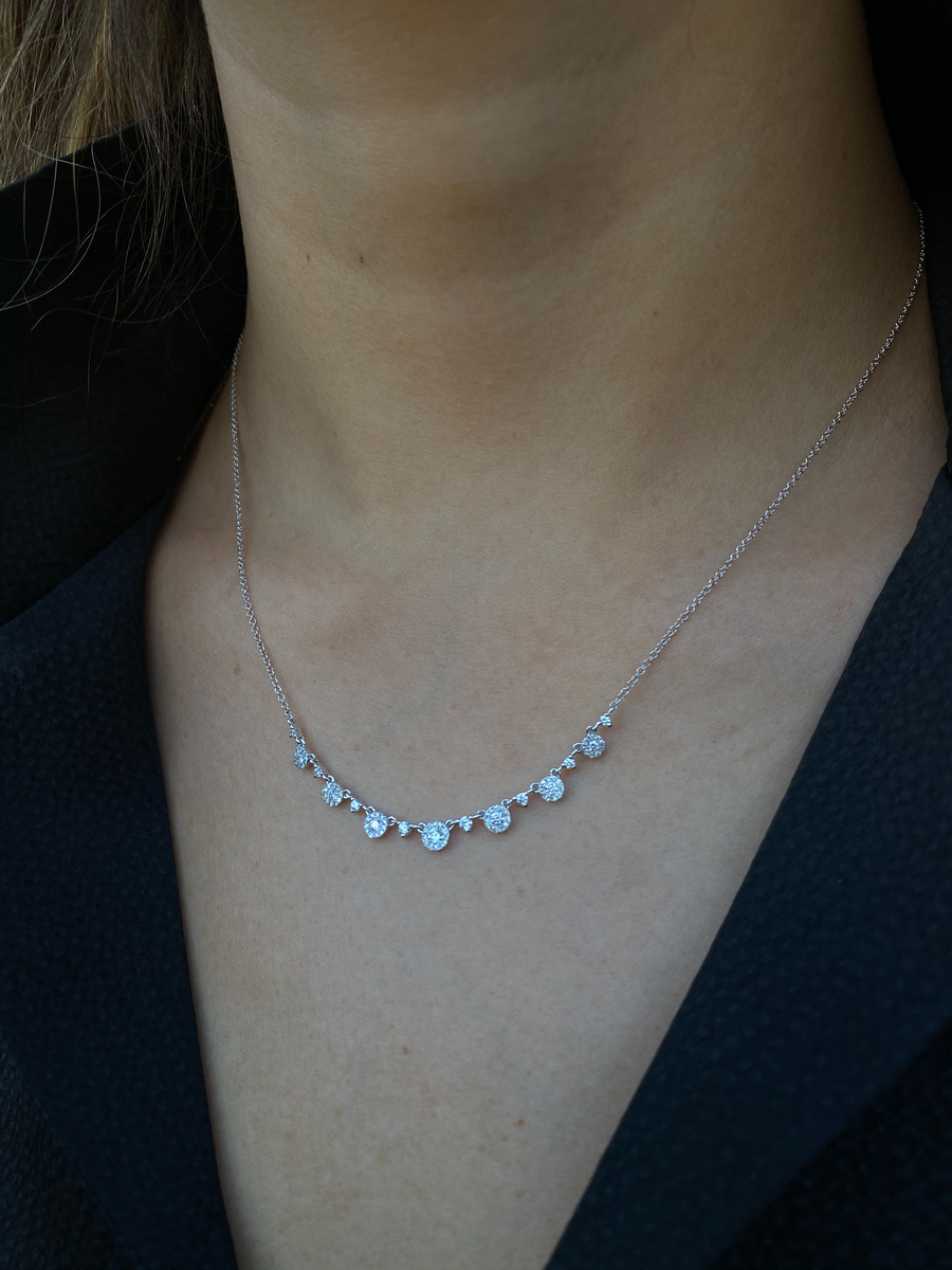 White Diamond Disc Necklace
