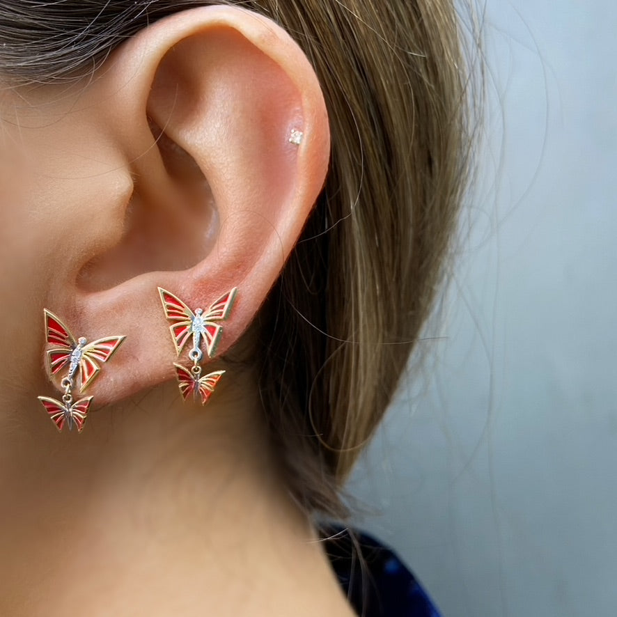 Red Enamel Butterfly Earrings, White Diamonds,Yellow Gold