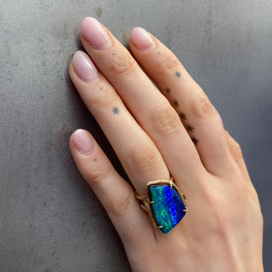 Blue Opal Willow Ring, Yellow Gold