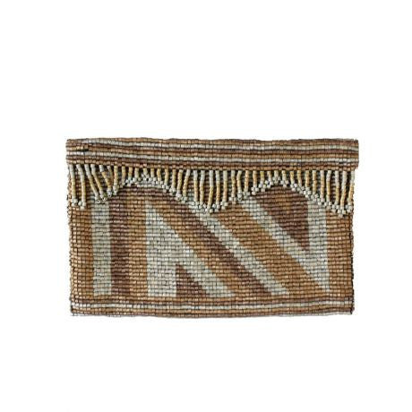 Beaded Clutch, Tan Right Angle Pattern