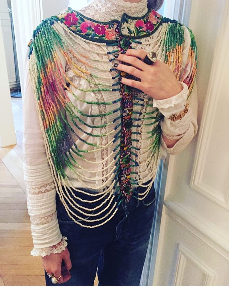 Beaded Blouse, Turquoise