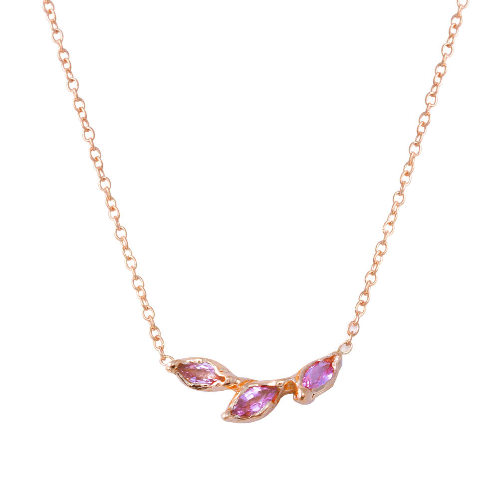 Three Leaf Pink Sapphire Necklace