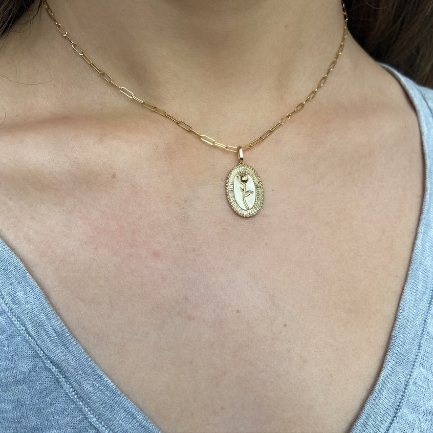 Rose Pendant Necklace, Yellow Gold