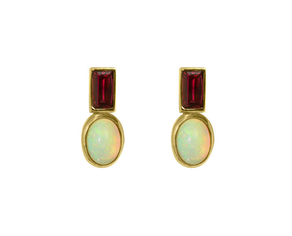 Amathea Earrings, Garnet, Opal, 18K Yellow Gold