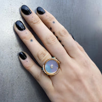 Round Ring with Mother of Pearl, Diamonds, Malachite, Rose Gold