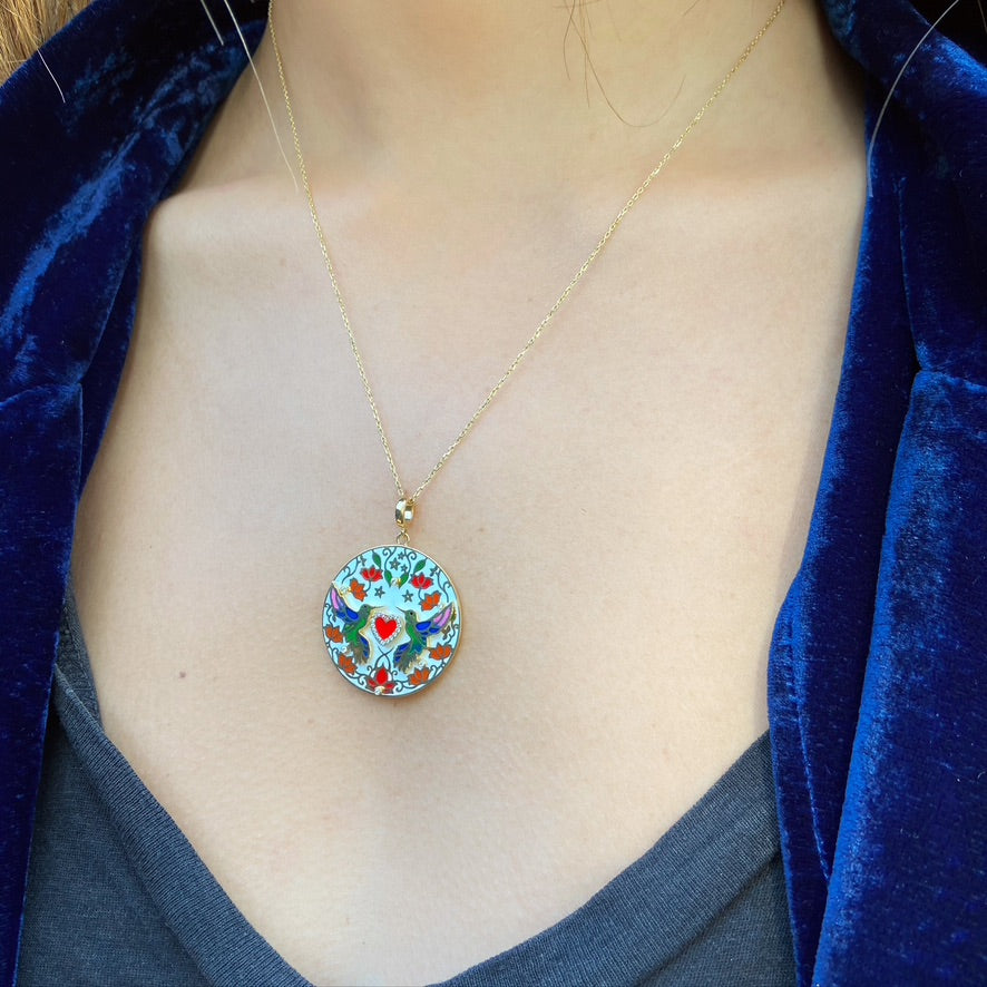 Hummingbird Heart Necklace, Colored Enamel, White Diamonds, Yellow Gold