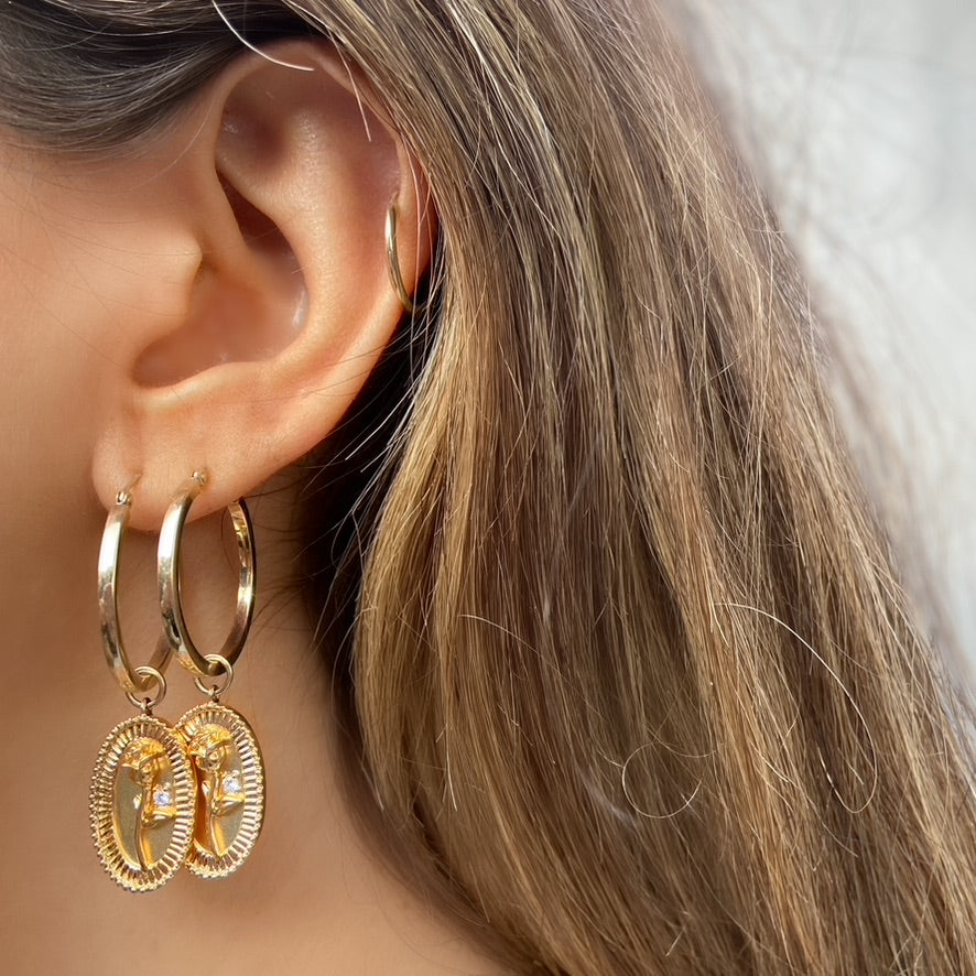 Dangling Rose Hoops, Yellow Gold