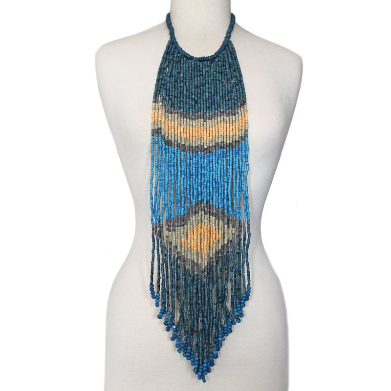 Beaded Long Necklace, Blue