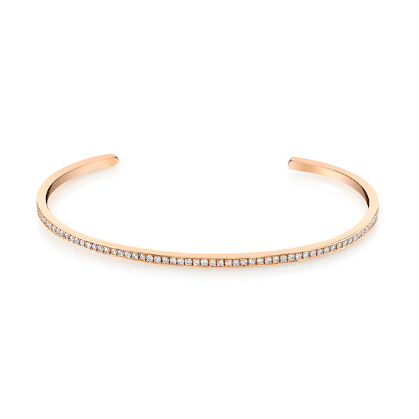 One Liner Cuff, Gold and Diamonds