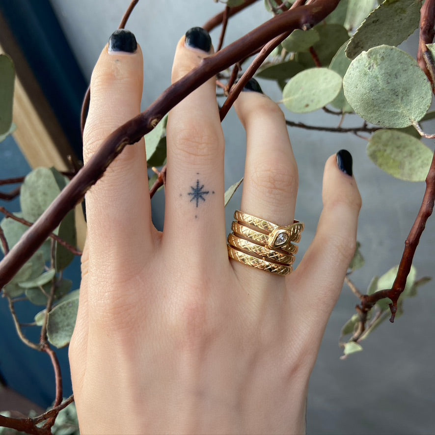 Veronica Four Coil Serpent Ring, Yellow Gold