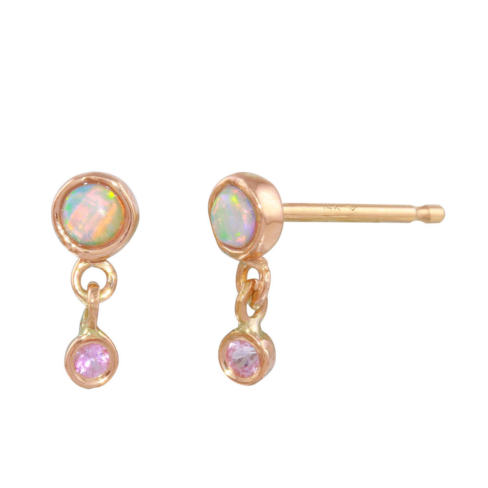 Opal and Pink Sapphire Dangle Stud