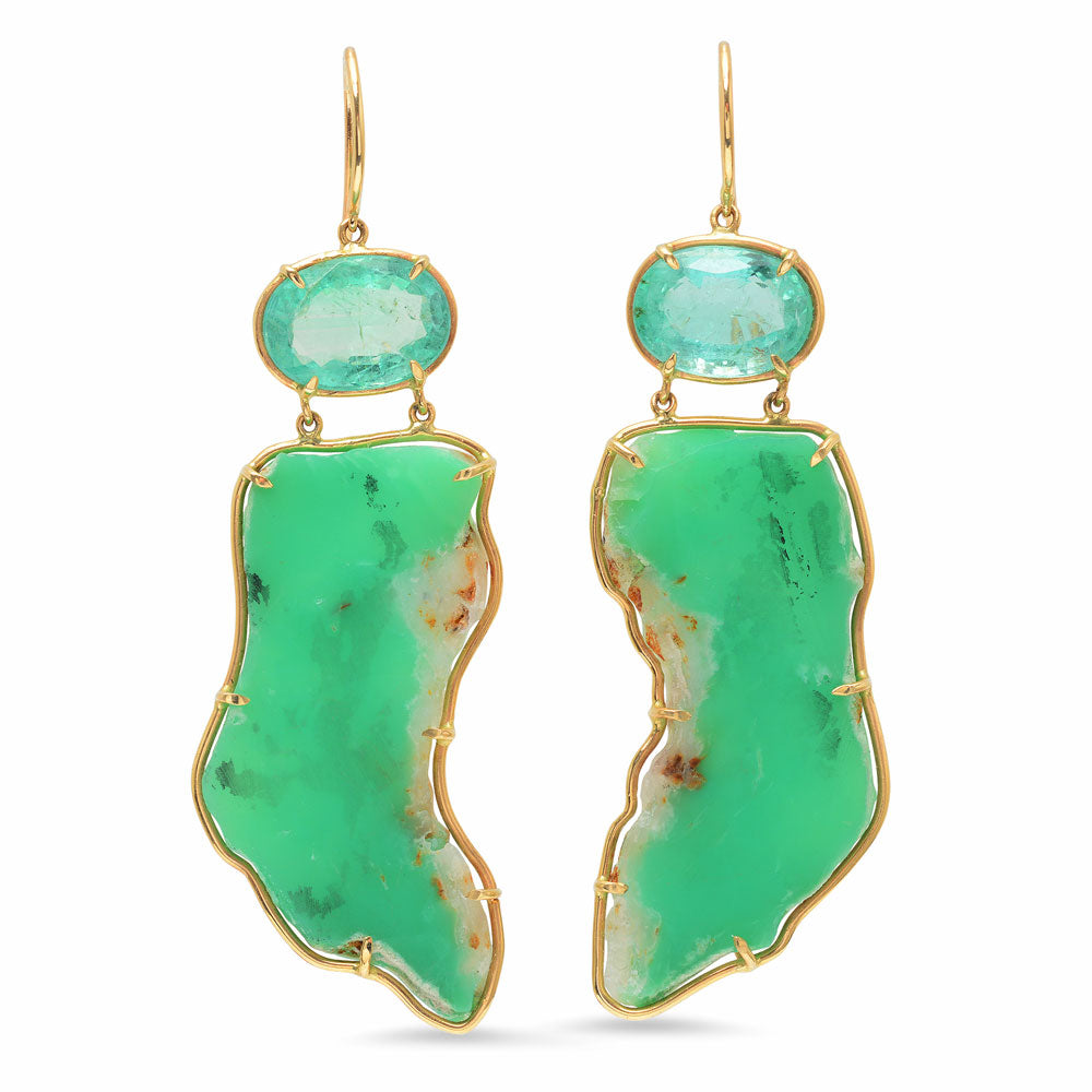 Emerald and Chrysoprase Earrings