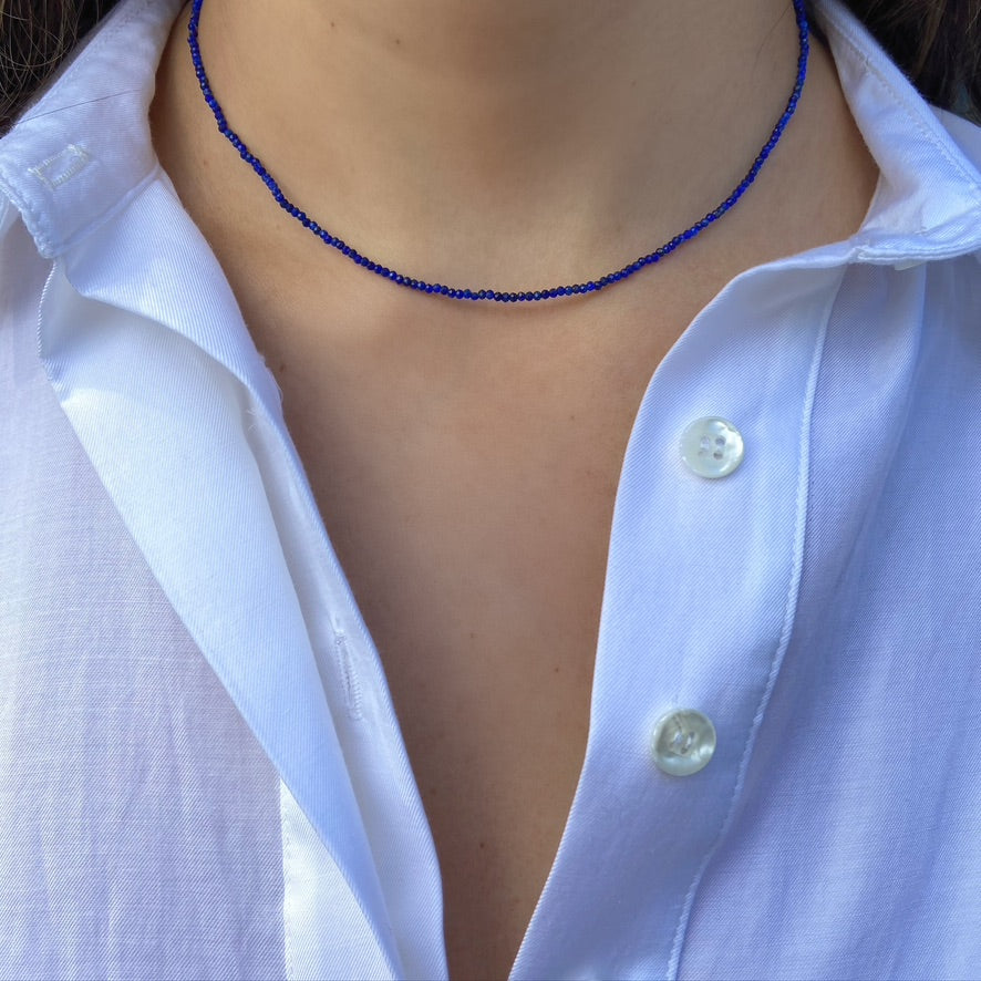 Lapis Strand Necklace, Yellow Gold