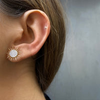 Soleil Earrings, White Diamonds, Yellow Gold