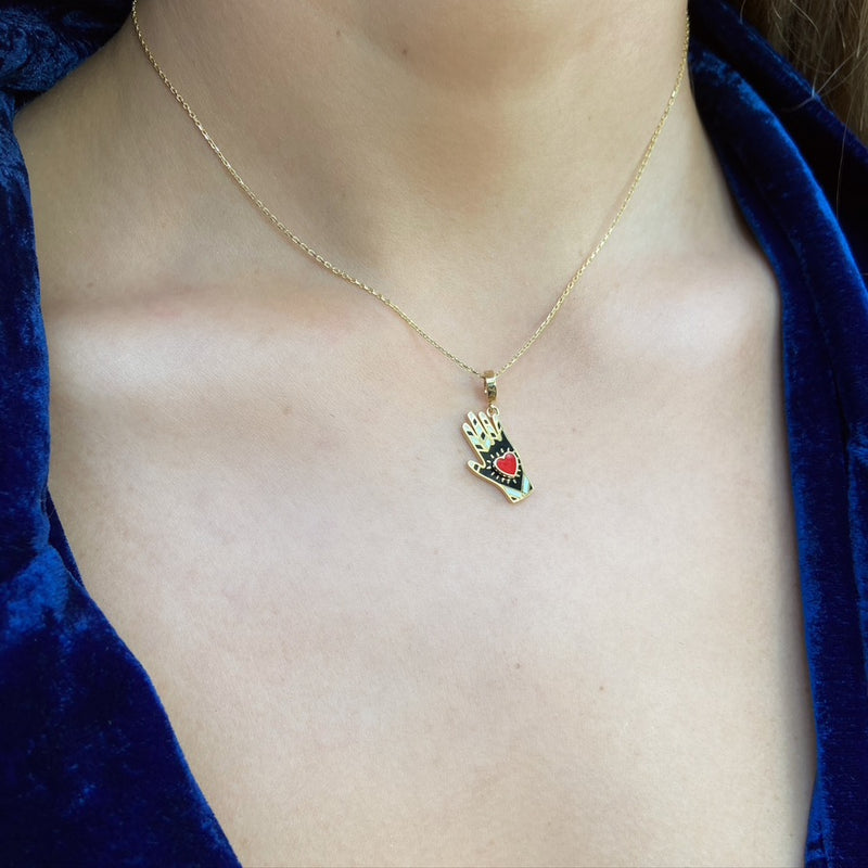 Heart Hand Pendant Necklace, Colored Enamel, Yellow Gold