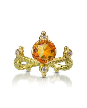 Castle in The Sky Ring, Mexican Fire Opal, Diamonds, 18K Yellow Gold