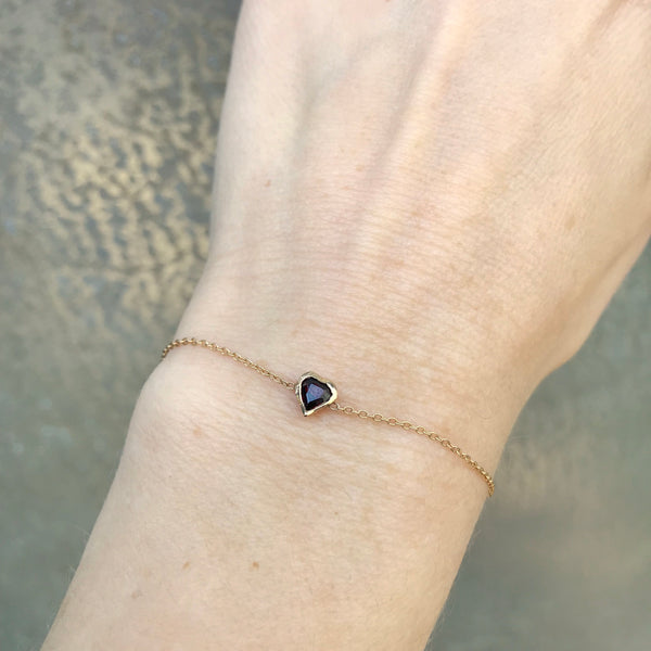 Garnet Heart Bracelet, Yellow Gold