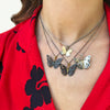 Monarch Butterfly Necklace, Oxidized Silver