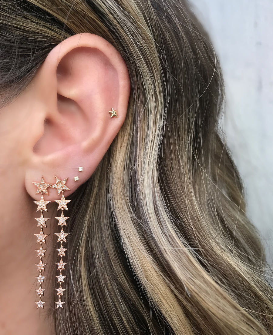 Gradient Star Earrings, Rose Gold and Diamond