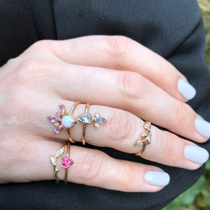Crown Ring, Opal, Diamond and Pink Sapphire