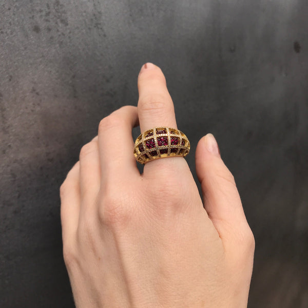 Matrix Double Mini Ring, Gold, Ruby and White Diamonds