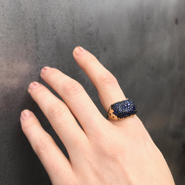 Baby Malak Bonbon Rectangle Ring, Gold and Blue Sapphire